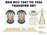 BSA M33 500cc 1947 to 1954 Transfer Decal Set